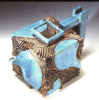 Blue and Carved Cube Teapot
